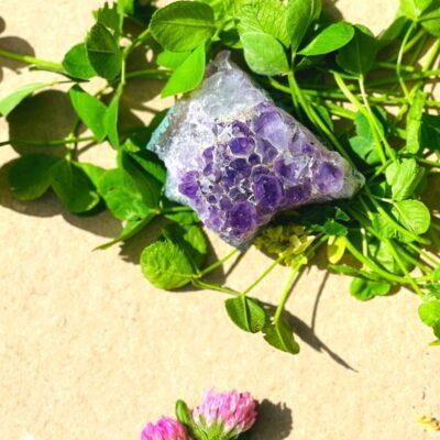 Rå ametyst med blomster og kløver