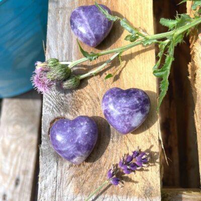 Lepodolit hjerte med tidsel og lavendel